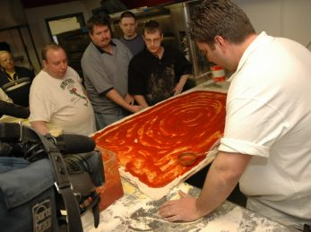 Making the worlds largest pizza